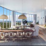 Vista de Coconut Grove da sala de jantar e cozinha do apartamento