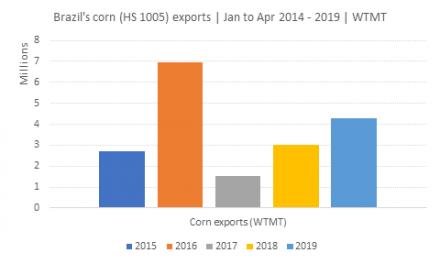 Levantamento realizado pela Datamar confirma previsões de crescimento na exportação de milho brasileiro