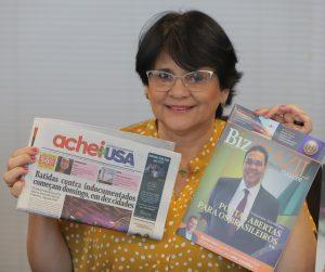 Ministra recebeu exemplares do jornal AcheiUSA e a revista BizBrazil (Foto: André Freitas/AcheiUSA)